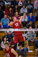 STANFORD, CA - March 10, 2018: Eli Wopat at Burnham Pavilion. UC Irvine defeated the Stanford Cardinal, 3-0.