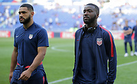 Lyon, France - Saturday June 09, 2018: Cameron Carter-Vickers, Shaquell Moore during an international friendly match between the men's national teams of the United States (USA) and France (FRA) at Groupama Stadium.