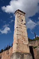 DELPHI, GREECE - APRIL 12 : A low angle view of the pedestal of the statue of King Prusias II of Bithynia, on April 12, 2007 in the Sanctuary of Apollo, Delphi, Greece. The pedestal dates 2nd century BC and was holding an equestrian statue of King Prusias II of Bithynia. (Photo by Manuel Cohen)