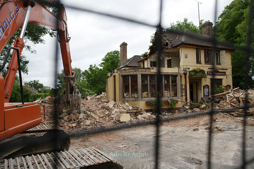 The Plasterers Arms St Clement's Oxford.  Now being demolished to be turned into Housing.  Once owned by Morrells, bought by Burton Wood Brewery in 1998 for £48 million  the money has  been recouped back immediately through the selling off 1/4 of  the  real estate.