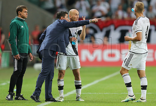 03.08.2016, Warsaw, Poland,  Coach Besnik Hasi (Legia), Michal Pazdan (Legia), Igor Lewczuk (Legia), Legia Warsaw versus AS Trencin, Champions League, qualification. The game  ended in a 0-0 draw with Legio going through on away goal.