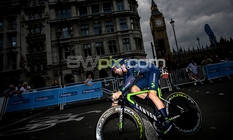 Picture by Alex Whitehead/SWpix.com - 14/09/2014 - Cycling - 2014 Friends Life Tour of Britain - Stage 8a, London Individual Time Trial - Movistar's Alex Dowsett in action during the Time Trial.