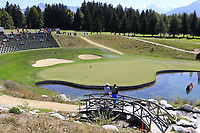Enjoying the view of the 13th green during Sunday's Final Round 4 of the 2018 Omega European Masters, held at the Golf Club Crans-Sur-Sierre, Crans Montana, Switzerland. 9th September 2018.<br /> Picture: Eoin Clarke | Golffile<br /> <br /> <br /> All photos usage must carry mandatory copyright credit (© Golffile | Eoin Clarke)