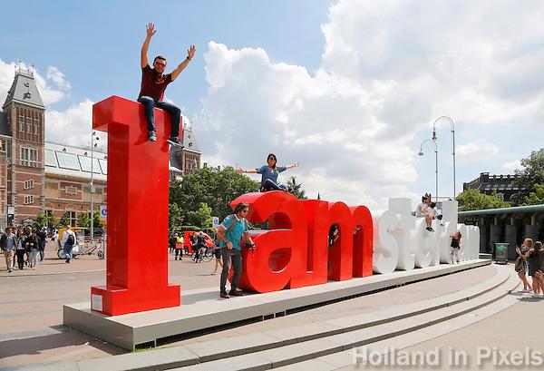 Nederland Amsterdam 2016 .  De I Amsterdam letters op het Museumplein.  Foto Berlinda van Dam / Hollande Hoogte