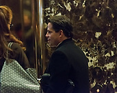 Trump financial advisor Anthony Scaramucci wits for an elevator in the lobby of Trump Tower with former AIG CEO Maurice Greenberg (not seen) in New York, NY, USA on December 12, 2016. <br /> Credit: Albin Lohr-Jones / Pool via CNP
