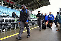 Beno Obano and the rest of the Bath Rugby team arrive at the stadium. Aviva Premiership match, between Harlequins and Bath Rugby on March 2, 2018 at the Twickenham Stoop in London, England. Photo by: Patrick Khachfe / Onside Images