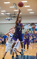 NWA Democrat-Gazette/BEN GOFF @NWABENGOFF<br /> Jon Conley of Fayetteville makes a basket against Rogers Friday, Feb. 9, 2018, in King Arena at Rogers High.