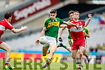 Sean O'Shea Kerry in action against Paddy Quigg Derry in the All Ireland Minor Quarter Final at Croke Park on Sunday.