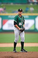 Great Lakes Loons starting pitcher Victor Gonzalez (22) gets ready to deliver a pitch during the first game of a doubleheader against the Fort Wayne TinCaps on May 11, 2016 at Parkview Field in Fort Wayne, Indiana.  Great Lakes defeated Fort Wayne 3-0.  (Mike Janes/Four Seam Images)