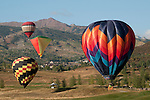 Hot air balloons soar at the Snowmass Balloon Festival, Colorado