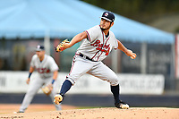 Rome Braves starting pitcher Dilmer Mejia (51) delivers a pitch during a game against the Asheville Tourists at McCormick Field on July 18, 2019 in Asheville, North Carolina. The Tourists defeated the Braves 4-3. (Tony Farlow/Four Seam Images)