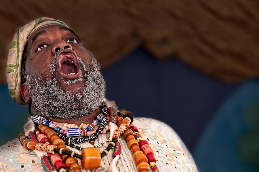 Portrait of African Storyteller giving a speech.