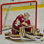 19 February 2016: Boston College Eagle Goaltender Thatcher Demko, a Junior from San Diego, CA, has the puck sail high and away after making a second period save against the University of Vermont Catamounts at Gutterson Fieldhouse in Burlington, Vermont. The Eagles defeated the Catamounts 3-1 in the first game of their weekend series. Mandatory Credit: Ed Wolfstein Photo *** RAW (NEF) Image File Available ***