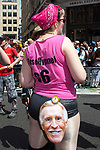 © Joel Goodman - 07973 332324 - all rights reserved . 03/07/2010 . London , UK . A woman wearing a Bruce Forsyth face mask on her backside . Annual London Pride march and demonstration through the centre of London . Photo credit : Joel Goodman