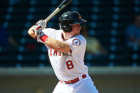Mesa Solar Sox catcher Stephen McGee (8) at bat during an Arizona Fall League game against the Glendale Desert Dogs on October 14, 2015 at Sloan Park in Mesa, Arizona.  Glendale defeated Mesa 7-6.  (Mike Janes/Four Seam Images)