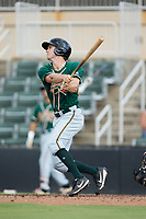 Walker Olis (31) of the Greensboro Grasshoppers follows through on his swing against the Kannapolis Intimidators at Kannapolis Intimidators Stadium on August 13, 2017 in Kannapolis, North Carolina.  The Grasshoppers defeated the Intimidators 4-1 in 10 innings in the completion of a game suspended on August 12, 2017.  (Brian Westerholt/Four Seam Images)