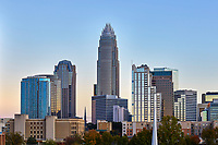 Charlotte skyline with the Bank of America Corporate Center in the middle of the image