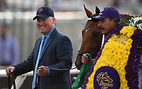 DEL MAR, CA - NOVEMBER 04: Scott Blasi celebrates after Gun Runner won the Breeders' Cup Classic race on Day 2 of the 2017 Breeders' Cup World Championships at Del Mar Racing Club on November 4, 2017 in Del Mar, California. (Photo by John Durr/Eclipse Sportswire/Breeders Cup)