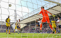 Preston North End's Callum Robinson heads in the opener<br /> <br /> Photographer Alex Dodd/CameraSport<br /> <br /> The EFL Sky Bet Championship - Preston North End v Burton Albion - Sunday 6th May 2018 - Deepdale Stadium - Preston<br /> <br /> World Copyright &copy; 2018 CameraSport. All rights reserved. 43 Linden Ave. Countesthorpe. Leicester. England. LE8 5PG - Tel: +44 (0) 116 277 4147 - admin@camerasport.com - www.camerasport.com