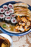 Japanese Calamari salad, Gyoza and Tekki Maki Tuna Rolls. ©2015. Jim Bryant Photo. All Rights Reserved.