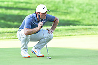 Bethesda, MD - July 1, 2018: Francesco Molinari lines up a putt on the 18th's green during the final round of professional play at the Quicken Loans National Tournament at TPC Potomac at Avenel Farm in Bethesda, MD.  (Photo by Phillip Peters/Media Images International)