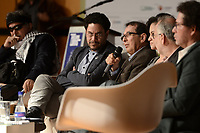 """BOGOTÁ -COLOMBIA. 01-04-2017. Presentación del libro de Jorge Rojas (C) """"Timochenko, el último guerrillero"""" acerca del máximo comandante del desmovilizado grupo guerrillero de izquierda colombiano FARC_EP, Rodrigo Londoño Echeverri más conocico como Timoleon Jimenez (Timochenko o Timochenco). El lanzamiendto se realizó en el marco de la versión 30 de la Feria Internacional del Libro de Bogotá que tiene este año como país invitado de honor a Francia y ofrecerá una programación diversa destinada a todos los públicos de la FILBo y es el evento de promoción de la lectura y la industria editorial más importante en Colombia. / Launch of the book wrote by Jorge Rojas (C) """"Timochenko, el último guerrillero"""" about the Maximum leader of the demobilized left guerrilla group FARC_EP, Rodrigo Londoño Echeverri most known under the name Timoleon Jimenez (Timochenko o Timochenco). The launching was held as part of the 30th version of the International Book Fair in Bogota that has this year as a country guest to France and offers a diverse program aimed to all public of FILBo and is the most important event to promote the reading and the editorial industry in Colombia. Photo: VizzorImage/ Gabriel Aponte / Staff"""