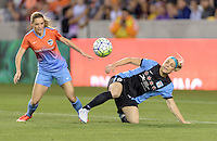 Kealia Ohai (7) of the Houston Dash and Julie Johnston (8) of the Chicago Red Stars both attempt to go after a loose ball in the first half on Saturday, April 16, 2016 at BBVA Compass Stadium in Houston Texas.
