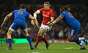 17th March 2018, Principality Stadium, Cardiff, Wales; NatWest Six Nations rugby, Wales versus France; Hadleigh Parkes of Wales looks to offload the ball as he runs into contact