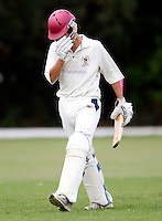 Bessboroughs' D Hawes shows his despair after being dismissed by M Tucker during the Middlesex County Cricket League Division Three game between Hornsey and Bessborough at Tivoli Road, Crouch End on Sat Aug 21, 2010.