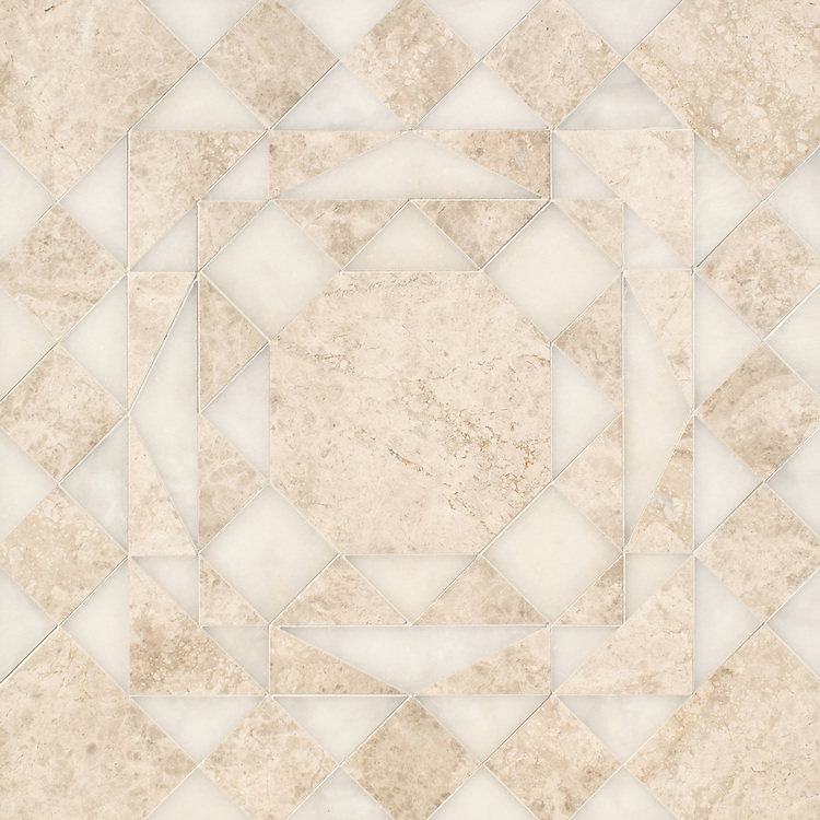 Bismarck Grand, a hand-cut stone mosaic, shown in polished Stratus and Afyon White, is part of the Bright Young Things™ collection by New Ravenna.