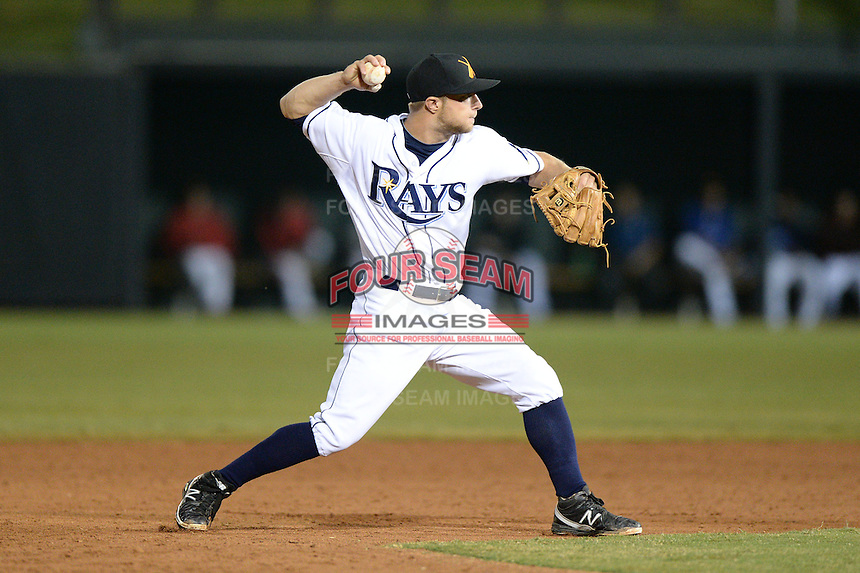 Salt River Rafters second baseman Ryan Brett (8), of the Tampa Bay Rays organization, during an Arizona Fall League game against the Mesa Solar Sox on October 11, 2013 at Salt River Fields at Talking Stick in Scottsdale, Arizona.  Mesa defeated Salt River 8-1.  (Mike Janes/Four Seam Images)