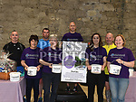 Robert Kierans, Helen Barron, Ken Shevlin, Ann Shortt, Annelese Durant, Fran Caffrey and Heather Murphy with Don Thornton on the threadmill in Scotch Hall as part of his 10K a Day in aid of Alzheimer's Society. Photo:Colin Bell/pressphotos.ie