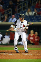 Louisville Cardinals first baseman Brendan McKay (38) squares to bunt during a game against the Maryland Terrapins on February 18, 2017 at Spectrum Field in Clearwater, Florida.  Louisville defeated Maryland 10-7.  (Mike Janes/Four Seam Images)