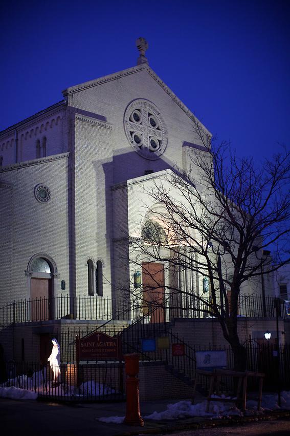 BROOKLYN, NY - March 19, 2017: Saint Agatha's Roman Catholic church on Seventh Avenue in Sunset Park.<br /> <br /> Credit: Clay Williams.<br /> <br /> &copy; Clay Williams / http://claywilliamsphoto.com