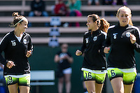 Seattle, WA - Sunday, May 22, 2016: Seattle Reign FC defender Carson Pickett (16) and midfielder Havana Solaun (19) chat during warm-ups prior to a regular season National Women's Soccer League (NWSL) match at Memorial Stadium. Chicago Red Stars won 2-1.