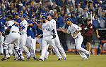 Royals team group,<br /> OCTOBER 5, 2014 - MLB :<br /> Salvador Perez and Greg Holland of the Kansas City Royals celebrate with their teammates including Norichika Aoki (R) after winning the American League Division Series (ALDS) Game 3 against the Los Angeles Angels at Kauffman Stadium in Kansas City, Missouri, United States. (Photo by AFLO)
