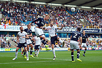 Millwall's Byron Webster clears from Bolton Wanderers' Mark Beevers<br /> <br /> Photographer Ashley Western/CameraSport<br /> <br /> The EFL Sky Bet Championship - Millwall v Bolton Wanderers - Saturday August 12th 2017 - The Den - London<br /> <br /> World Copyright &not;&copy; 2017 CameraSport. All rights reserved. 43 Linden Ave. Countesthorpe. Leicester. England. LE8 5PG - Tel: +44 (0) 116 277 4147 - admin@camerasport.com - www.camerasport.com