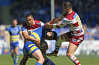 Warrington Wolves' Bryson Goodwin is tackled by Wigan Warriors' Romain Navarette and Willie Isa <br /> <br /> Photographer Stephen White/CameraSport<br /> <br /> Rugby League - Coral Challenge Cup Sixth Round - Warrington Wolves v Wigan Warriors - Sunday 12th May 2019 - Halliwell Jones Stadium - Warrington<br /> <br /> World Copyright © 2019 CameraSport. All rights reserved. 43 Linden Ave. Countesthorpe. Leicester. England. LE8 5PG - Tel: +44 (0) 116 277 4147 - admin@camerasport.com - www.camerasport.com