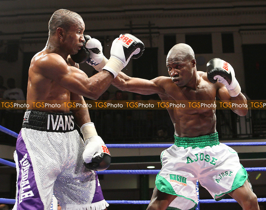 Ajose Olusegun (Finchley, white/green shorts) defeats Michael Frontin (Edmonton, white/black shorts) in a Light-Welterweight boxing contest at York Hall, Bethnal Green, promoted by FTM Sports/Maloney Promotions -  17/10/08 - MANDATORY CREDIT: Gavin Ellis/TGSPHOTO - Self billing applies where appropriate - Tel: 0845 094 6026