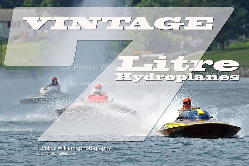"""(L to R):Bill Fisk, GP-317 """"The Irishman"""" (1971 7 Litre/Grand Prix class Lauterbach hydroplane), Marv Hart, 222 """"Candiana Grand Prix"""" (1964 Longtin Grand Prix class hydroplane) and GP-1 """"Desourdy Special"""" (Lauterbach Grand Prix hydroplane)."""