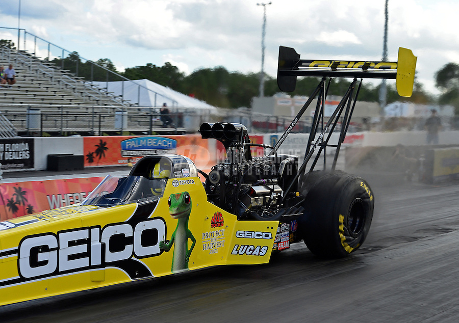 Jan. 16, 2013; Jupiter, FL, USA: NHRA top fuel dragster driver Morgan Lucas during testing at the PRO Winter Warmup at Palm Beach International Raceway.  Mandatory Credit: Mark J. Rebilas-