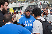 Members of Team Islam engage with local residents and visitors to the Olympic Park outside Stratford station during the London 2012 Olympic Games.