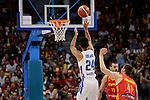 Juancho Hernangomez of Spain and Gelvis Solano of Dominican Republic during the Friendly match between Spain and Dominican Republic at WiZink Center in Madrid, Spain. August 22, 2019. (ALTERPHOTOS/A. Perez Meca)