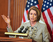 United States House Speaker Nancy Pelosi (Democrat of California) makes remarks as she and U.S. House Democratic Leaders meet reporters to announce the savings to the federal budget by their health care reform effort in the U.S. Capitol in Washington, D.C. on Thursday, March 18, 2010..Credit: Ron Sachs / CNP