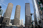Marina City Towers, IBM Plaza and Trump International Hotel and Tower in Chicago, IL, USA