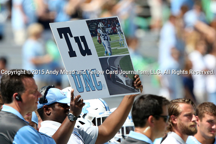 19 September 2015: UNC play calling card. The University of North Carolina Tar Heels hosted the University of Illinois Fighting Illini at Kenan Memorial Stadium in Chapel Hill, North Carolina in a 2015 NCAA Division I College Football game. UNC won the game 48-14.