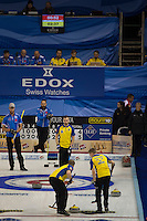 Glasgow. SCOTLAND. Last &quot;Stone in the  &quot;Round Robin&quot; Game Sweden vs Italy . Le Gruy&egrave;re European Curling Championships. 2016 Venue, Braehead  Scotland<br /> Monday  21/11/2016<br /> <br /> [Mandatory Credit; Peter Spurrier/Intersport-images]
