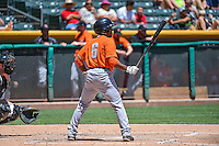 Tony Kemp (6) of the Fresno Grizzlies at bat against the Salt Lake Bees in Pacific Coast League action at Smith's Ballpark on June 14, 2015 in Salt Lake City, Utah.  (Stephen Smith/Four Seam Images)
