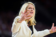 College Park, MD - DEC 29, 2016: Maryland Terrapins head coach Brenda Frese is not happy with a call during the game between No. 1 UConn and the No. 3 Terrapins at the XFINITY Center in College Park, MD. UConn defeated Maryland 87-81. (Photo by Phil Peters/Media Images International)