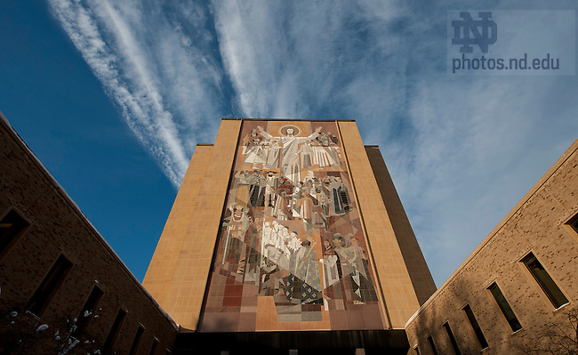 "January 3, 2012; The Word of Life Mural, ""Touchdown Jesus"" on the south side of the Hesburgh Library. Photo by Barbara Johnston/University of Notre Dame."